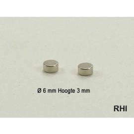 Neodymium magneet Ø 6mm, hoogte 3mm