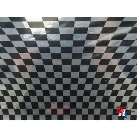 Checker sticker schwarz/chrom verzerrt
