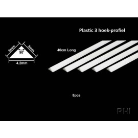 70117, Plastic driehoekprofiel 3mm 8st.